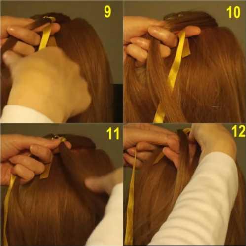 Плетение косы с лентой видео для начинающих